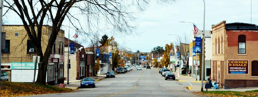 Main Street Business District in Oconto Falls